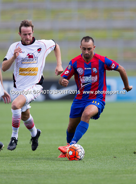 WaiBOP forward Federico Marquez keeps control of the ball from Canterbury United's Ruben Parker Hanks during the ASB Premiership - Round 11 football match at FMG Stadium, Hamilton, Sunday 7 February 2016. Copyright Photo: Stephen Barker / www.photosport.nz
