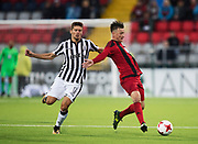 &Ouml;STERSUND, SWEDEN - AUGUST 24: Gojko Cimirot of PAOK Saloniki FC and Jamie Hopcutt of Oestersunds FK competes for the ball during the UEFA Europa League Qualifying Play-Offs round second leg match between &Ouml;stersunds FK and PAOK Saloniki at J&auml;mtkraft Arena on August 24, 2017 in &Ouml;stersund, Sweden. Foto: Nils Petter Nilsson/Ombrello<br /> ***BETALBILD***