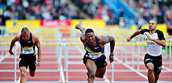 USA's David Oliver crosses first the finis line , in the men's 110m hurdles final during the Diamond League athletics meeting at Crystal Palace in London on August 14, 2010.