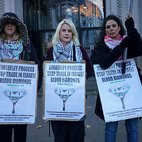Protest against Kimberley Process Stop Shielding Israel blood diamonds, London, UK