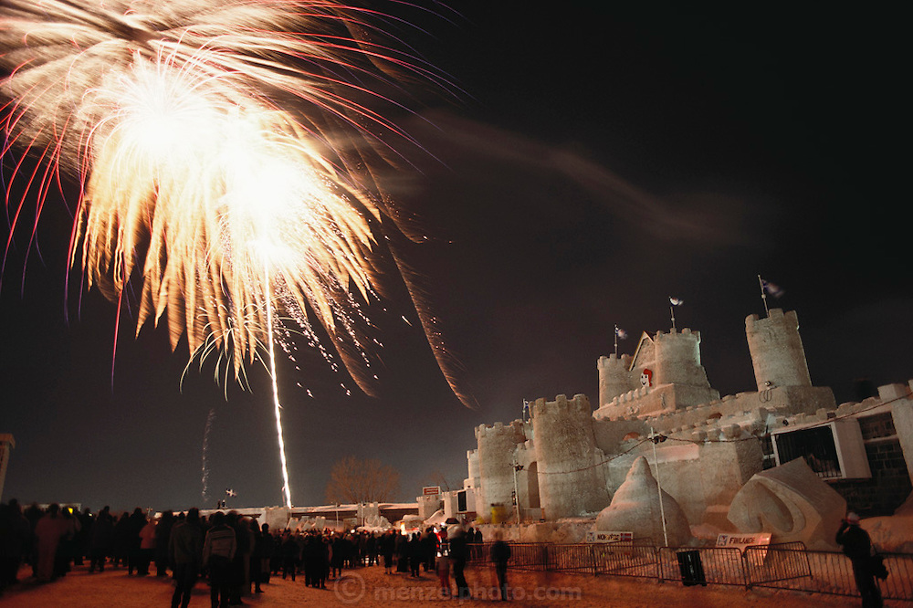 Fireworks over the ice palace built for the yearly Winter Carnival, Quebec, Canada.