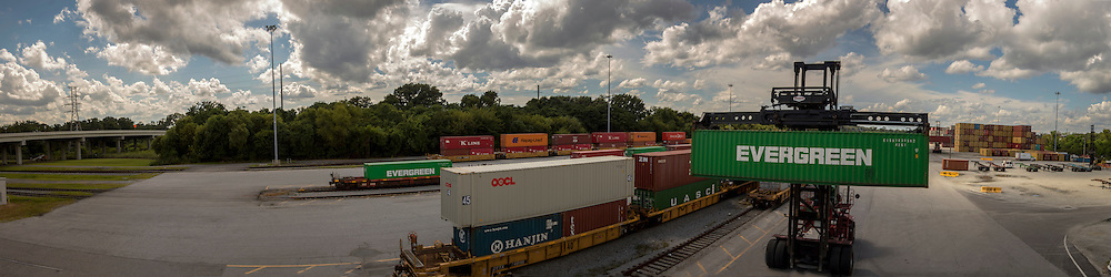 Top loaders work the Mason Rail Yard at the Georgia Ports Authority Garden City Terminal, Wednesday, Aug. 19 2015, in Garden City, Ga.  (GPA Photo/Stephen B. Morton)
