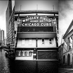 Chicago panorama collage high resolution photo of some of Chicago's most popular attractions including the Chicago Theatre sign, Willis/Sears Tower, Wrigley Field sign, Art Institute lion, and the Navy Pier Ferris Wheel. Panoramic photo ratio is 1:3. Copyright ⓒ Paul Velgos with All Rights Reserved.