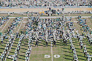 The Marching 110 perform with the alumni band during the Ohio University Homecoming half-time show on October 10, 2015 at Peden Stadium. Photo by Emily Matthews