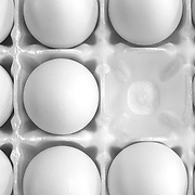 Something missing. An incomplete display of eggs.<br /> <br /> Available Exclusively through agefotostock.