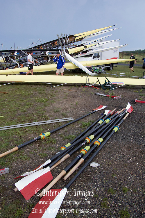 Racice CZECH REPUBLIC.  Boats damaged by the storm which hit the course early on Thursday evening,  FISA World U23 Championships, held on the Racice Rowing Course, Thursday - 23/07/2009  [Mandatory Credit Peter Spurrier/ Intersport Images]