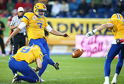03.06.2014, NV Arena, St. Poelten, AUT, American Football Europameisterschaft 2014, Gruppe A, Schweden (SWE) vs Deutschland (GER), im Bild Fredrik Eklund, (Team Sweden, WR, #9) und  Ola Kimrin, (Team Sweden, K, #7) beim PAT // during the American Football European Championship 2014 group A game between Sweden vs Germany at the NV Arena, St. Poelten, Austria on 2014/06/03. EXPA Pictures © 2014, PhotoCredit: EXPA/ Thomas Haumer