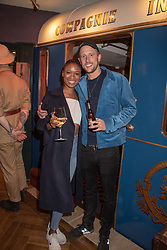 Jennlee Shallow and George Frost at the launch of Mr Fogg's Society of Exploration, 1a Bedford Street, London,  England. 13 September 2018.