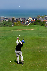NORMANDY, FRANCE - MAY-01-2007 - Arnaud Roy of Caen, France tees off on hole 2 at the Omaha Beach Golf Club - Course: La Mer (The Sea) - Hole 2 - 165 yards - Par 3. (Photo © Jock Fistick)