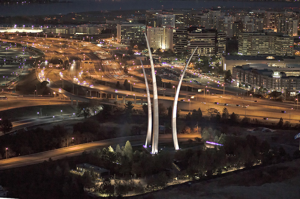 U.S. Air Force Memorial. evening aerial view