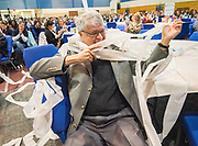 R.T. Garcia untangles from toilet paper after a demonstration by Steve Spangler during the R.T. Garcia Early Childhood Winter Conference, January 26, 2019.