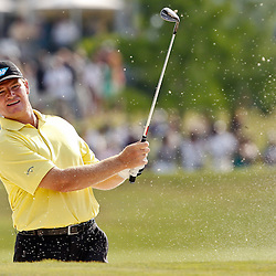 Apr 29, 2012; Avondale, LA, USA; Ernie Els on the 18th hole during the final round of the Zurich Classic of New Orleans at TPC Louisiana. Mandatory Credit: Derick E. Hingle-US PRESSWIRE