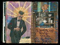 Artist journal collage with soulful man and a cupboard of unique dishes.