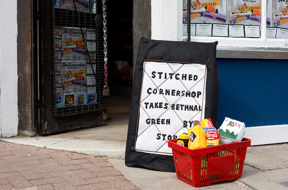 Lucy Sparrow who has stocked a corner shop created entirely from goods made of felt. <br /> Photograph: Rosie Hallam