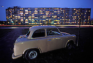 GDR, German Democratic Republic, Eastberlin, at the Lenin square, Trabant car in front of a panel flat building.....DDR, Deutsche Demokratische Republik, Ostberlin, am Leninplatz, Trabi vor Plattenbau...1990