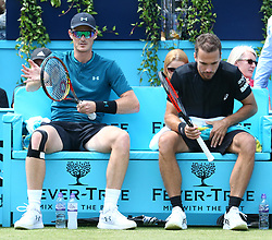 June 21, 2018 - London, United Kingdom - Jamie Murray  Bruno Soares (BRA)  in action .during Fever-Tree Championships 2nd Round match between Jamie Murray  Bruno Soares (BRA) against Marcus Daniell  (NZL)AND Wesley Koolhof ( NED ) at The Queen's Club, London, on 21 June 2018  (Credit Image: © Kieran Galvin/NurPhoto via ZUMA Press)