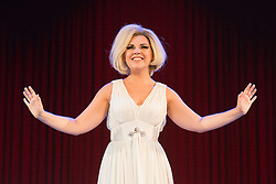 """© Licensed to London News Pictures. 01/09/2015. London, UK. Alison Arnopp (Dusty).  Photocall for the new British musical """"DUSTY"""", a world premiere. DUSTY, is about the rise to fame of 1960s superstar Dusty Springfield. The show is currently previewing in the West End at Charing Cross Theatre. Alison Arnopp stars as Dusty Springfield/Mary O'Brien. Photo credit : Bettina Strenske/LNP"""