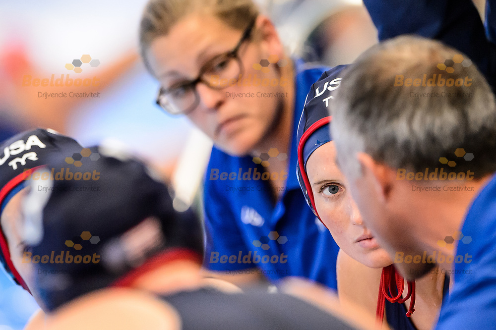 05-07-2018: Waterpolo: Hongarije v USA: Rotterdam<br /> <br /> (L-R)  during the waterpolomatch between ladies Hungary vs USA at Zwemcentrum Rotterdam, the Netherlands<br /> <br /> Spido Dutch Waterpolo Trophy 2018<br /> <br /> Foto/Photo: Gertjan Kooij