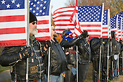 "Nebraska NE USA, A Veterans day ceremony at Omaha, NE. The ""Patriot Guard Riders"", most of them Vietnam veterans, who try to raise awareness for war casualties and missing soldiers."
