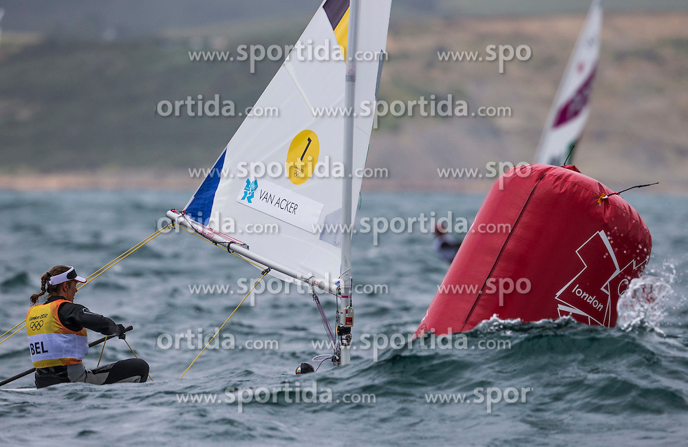 04.08.2012, Bucht von Weymouth, GBR, Olympia 2012, Segeln, im Bild Van Acker Evi, (BEL, Laser Radial). // during Sailing, at the 2012 Summer Olympics at Bay of Weymouth, United Kingdom on 2012/08/04. EXPA Pictures © 2012, PhotoCredit: EXPA/ Daniel Forster ***** ATTENTION for AUT, CRO, GER, FIN, NOR, NED, POL, SLO and SWE ONLY!