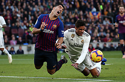 October 28, 2018 - Barcelona, Catalonia, Spain - Raphael Varane and Luis Suarez during the match between FC Barcelona and Real Madrid CF, corresponding to the week 10 of the Liga Santander, played at the Camp Nou, on 28th October 2018, in Barcelona, Spain. (Credit Image: © Joan Valls/NurPhoto via ZUMA Press)