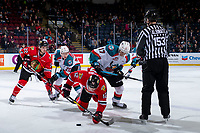 KELOWNA, CANADA - MARCH 2:  Conner Bruggen-Cate #20 and Alex Swetlikoff #17 of the Kelowna Rockets checks Jaydon Dureau #22 and Reece Newkirk #12 of the Portland Winterhawks after the face off in first period on March 2, 2019 at Prospera Place in Kelowna, British Columbia, Canada.  (Photo by Marissa Baecker/Shoot the Breeze)