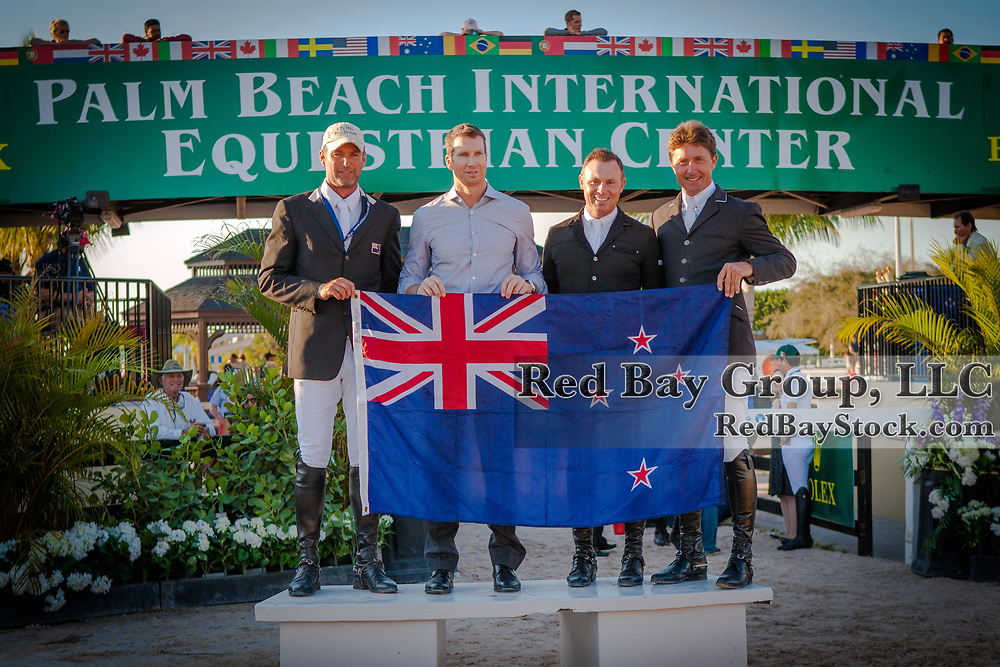 Team New Zealand at the 2014 Furusiyya FEI Nations Cup held during the Winter Equestrian Festival in Wellington, Florida.