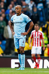 after Mame Biram Diouf of Stoke scores a goal to give his side a 0-1 lead - Photo mandatory by-line: Rogan Thomson/JMP - 07966 386802 - 30/08/2014 - SPORT - FOOTBALL - Manchester, England - Etihad Stadium - Manchester City v Stoke City - Barclays Premier League.