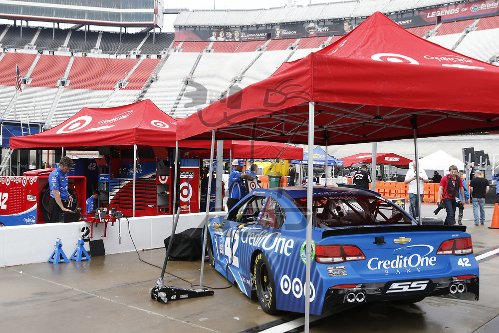 April 21, 2017 - Bristol, Tennessee , USA: The Monster Energy NASCAR Cup Series teams take to the track a practice session for the Food City 500 at Bristol Motor Speedway in Bristol, Tennessee .