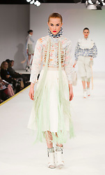 © Licensed to London News Pictures. 01/06/2015. London, UK. Collection by Alisa Reeve. Fashion show of the Manchester School of Art at Graduate Fashion Week 2015. Graduate Fashion Week takes place from 30 May to 2 June 2015 at the Old Truman Brewery, Brick Lane. Photo credit : Bettina Strenske/LNP