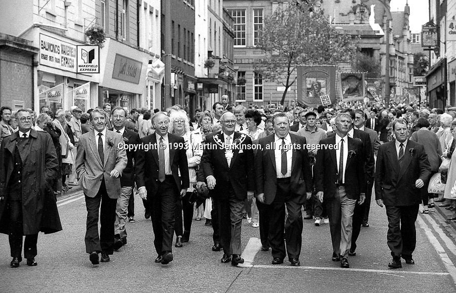 Front of march. 1993 Yorkshire Miner's Gala. Wakefield.