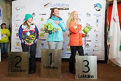 MENTEL-SPEE Bibian, DUCE Heidi Jo, BUNSCHOTEN Lisa, Snowboarder Cross, 2015 IPC Snowboarding World Championships, La Molina, Spain