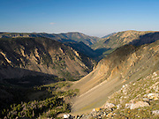 Looking down the Hellroarying Creek Valley and Rock Creek Valley from above treeline, Absaroka-Beartooth Wilderness, Custer National Forest, Montana