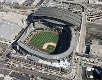 Aerial view of Seattle's Safeco field, home of the Mariners, major league baseball,