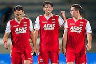 WAALWIJK, RKC Waalwijk - AZ, voetbal Eredivisie, seizoen 2013-2014, 17-08-2013, Mandemakers Stadion, AZ speler Nemanja Gudelj (L), AZ speler Jan Wuytens (M) en AZ speler Nick Viergever (R) zijn blij met de overwinning.