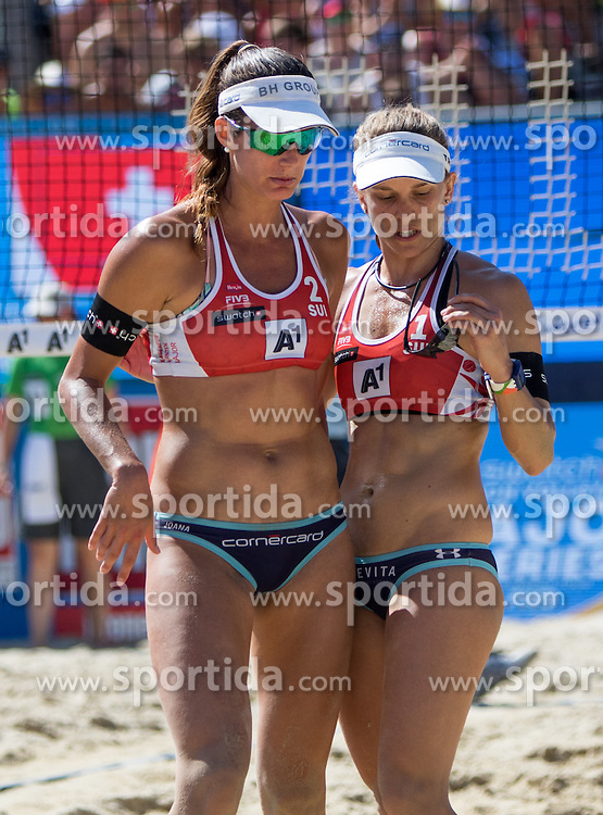30.07.2016, Strandbad, Klagenfurt, AUT, FIVB World Tour, Beachvolleyball Major Series, Klagenfurt, Herren, im Bild Nadine Zumkehr (1, SUI), Joana Heidrich (2, SUI) // during the FIVB World Tour Major Series Tournament at the Strandbad in Klagenfurt, Austria on 2016/07/30. EXPA Pictures © 2016, PhotoCredit: EXPA/ Lisa Steinthaler