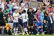 Tottenham Hotspur defender Danny Rose (3) comes off and Tottenham Hotspur defender Ben Davies (33) comes on during the Premier League match between Tottenham Hotspur and Crystal Palace at Tottenham Hotspur Stadium, London, United Kingdom on 14 September 2019.