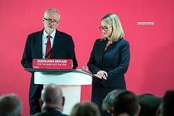 © Licensed to London News Pictures . 02/09/2019. Salford , UK. JEREMY CORBYN and REBECCA LONG-BAILEY host a Q&A . Members of the shadow cabinet and regional devolved mayors attend a speech and Q&A by Labour Party leader Jeremy Corbyn at The Landing Media City in Salford . Photo credit: Joel Goodman/LNP