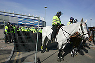 Police out in force before the match. Coca Cola Championship match, Cardiff City v Swansea City at Ninian Park, Cardiff on Sunday 5th April 2009. pic by Andrew Orchard, Andrew Orchard sports photography.