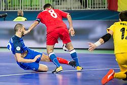 Abdessamad Mohammed of France and Rizvan Farzaliyev of Azerbaijan during futsal match between France and Azerbaijan at Day 4 of UEFA Futsal EURO 2018, on February 2, 2018 in Arena Stozice, Ljubljana, Slovenia. Photo by Urban Urbanc / Sportida