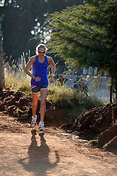 © London News Pictures. 01/02/2014. Virgin Money London Marathon 2014 preview. Iten, Kenya.  British athlete Paula Radcliffe in action on the day that she publicly announces that she will compete in one more marathon, before her racing retirement.  Photo by Mike King/London Marathon/LNP