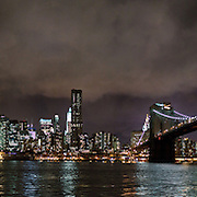 Brooklyn Bridge by night during the renovation.