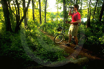 Outdoor recreation, Biking in PA Birdwatching, Young Adult Male,