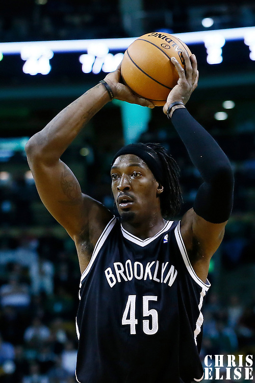 28 November 2012: Brooklyn Nets small forward Gerald Wallace (45) looks to pass the ball during the Brooklyn Nets 95-83 victory over the Boston Celtics at the TD Garden, Boston, Massachusetts, USA.