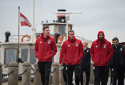 VIENNA, AUSTRIA - Thursday, October 6, 2016: Wales' Gareth Bale with, Andrew Crofts and Wayne Hennessey during a pre-match walk at the Hilton Danube Waterfront Hotel ahead of the 2018 FIFA World Cup Qualifying Group D match against Austria. (Pic by Peter Powell/Propaganda)