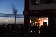 a general view outside the club shop at Britannia stadium ahead of the Barclays Premier League match, Stoke city v Everton at the Britannia Stadium in Stoke on Trent , Staffs on Wed 4th March 2015.<br /> pic by Andrew Orchard, Andrew Orchard sports photography.