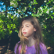 Portrait of young girl in spring.