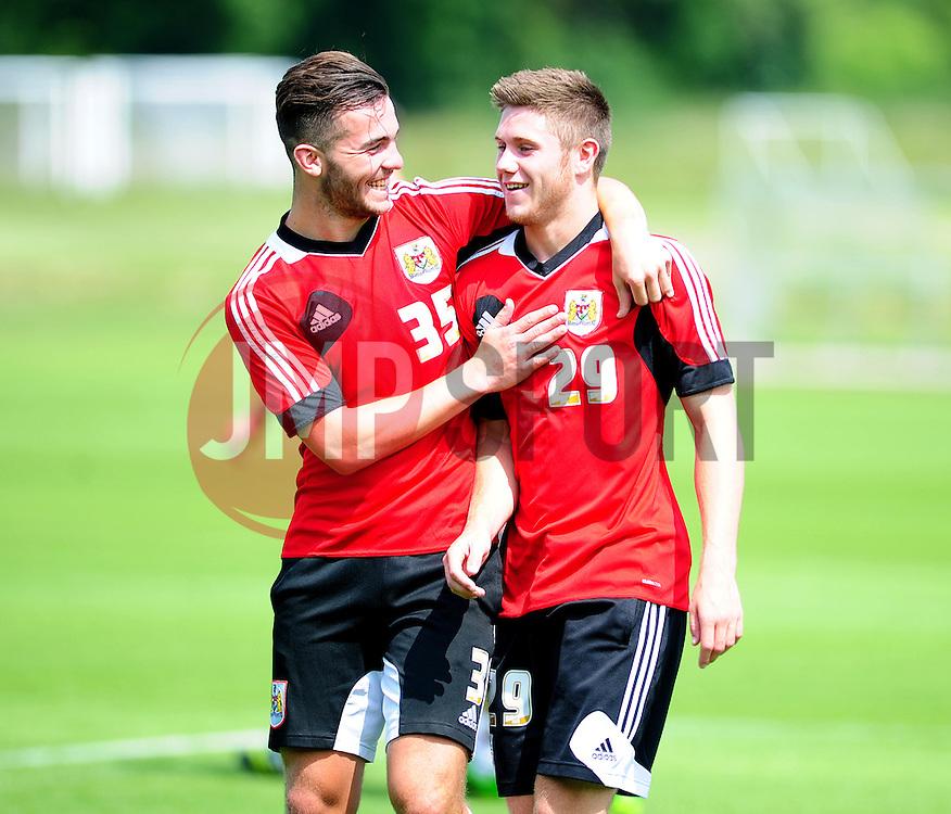 Bristol City's Mitch Brundle and Wes Burns  - Photo mandatory by-line: Dougie Allward/JMP - Tel: Mobile: 07966 386802 28/06/2013 - SPORT - FOOTBALL - Bristol -  Bristol City - Pre Season Training - Npower League One