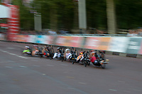 In-camera slow shutter speed pan used in this photo of competitors racing in The Prudential RideLondon Handcycle Grand Prix. Saturday 28th July 2018<br /> <br /> Photo: Ian Walton for Prudential RideLondon<br /> <br /> Prudential RideLondon is the world's greatest festival of cycling, involving 100,000+ cyclists - from Olympic champions to a free family fun ride - riding in events over closed roads in London and Surrey over the weekend of 28th and 29th July 2018<br /> <br /> See www.PrudentialRideLondon.co.uk for more.<br /> <br /> For further information: media@londonmarathonevents.co.uk