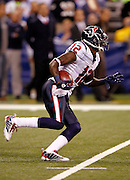 Houston Texans punt returner Jacoby Jones (12) returns a first quarter punt during the NFL week 8 football game against the Indianapolis Colts on Monday, November 1, 2010 in Indianapolis, Indiana. The Colts won the game 30-17. ©Paul Anthony Spinelli